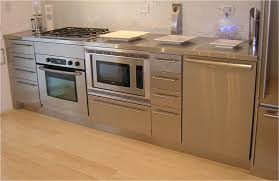 nice looking organized kitchen space with hanging stainless steel