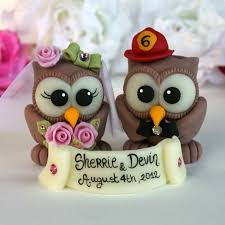 owl cake toppers custom firefighter owl bird wedding cake toppers