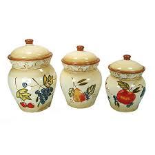 Designer Kitchen Canister Sets by D U0027lusso Designs Ceramic Fruit 3 Piece Kitchen Canister Set