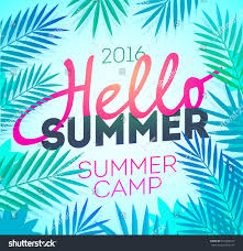 hello summer holiday summer camp poster stock vector 437366314