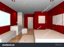 mockup minimalist bedroom red wall tile stock illustration
