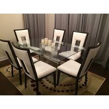 Silver Dining Table And Chairs Furniture Of America Ezreal Contemporary Tempered Glass Silver