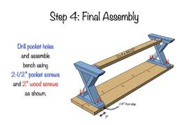 Diy X Brace Bench Free U0026 Easy Plans Bench Plans Wood Working