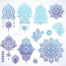 vector set of indian floral paisley ornaments persian ethnic