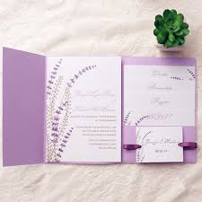 invitation kits lavender ribbon pocket wedding invitation kits ewpi138 as