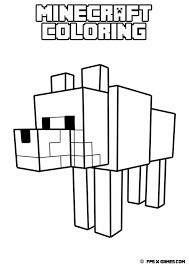 printable minecraft coloring tamed wolf pages to color