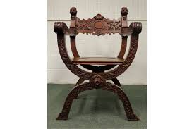 Savanarola Chair A Victorian Mahogany X Frame Or Savonarola Chair Floral And
