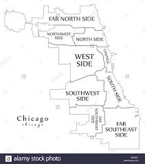 chicago map side modern city map chicago city of the usa with boroughs and titles