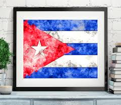 Cuba Flag Cuba Flag Art Cuba Flag Print Flag Poster Country Flags