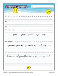 cursive q letter q worksheets for handwriting practice