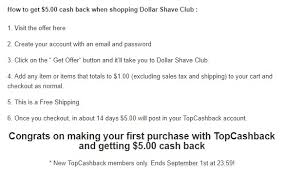 get 5 cashback on purchase money maker spend 1 get 5 back from dollar shave club exp