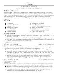 Resume Sample For Marketing by Professional Conversion Optimization Specialist Templates To