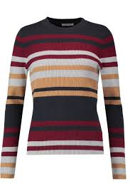 striped ribbed cotton blend sweater ganni uk the outnet