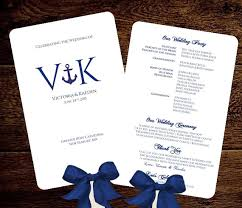 nautical wedding fan program fan monogram wedding program