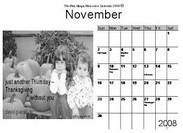 our haiga calendars for november 2008 f k a archives real