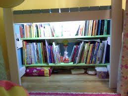 Beds With Bookshelves by Ana White Camp Loft Bed With Added Book Shelf And Curtain Diy