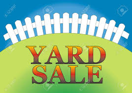 yard sale sign in the backyard of the house stock photo picture