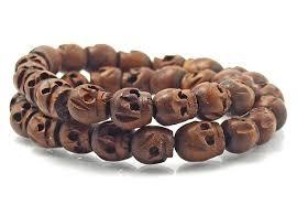 bracelet skull beads images Skull beads hand carved wooden quot momento mori quot bracelet choker jpg