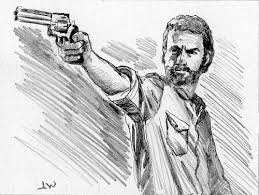 rick from the walking dead sketch card by stungeon on deviantart