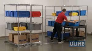 uline rolling tool cabinet uline sliding storage shelves youtube