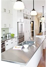 White Kitchen Island With Stainless Steel Top Wonderful White Cabinets With Stainless Steel Countertops Images