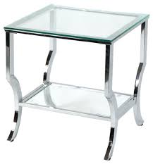 Contemporary Accent Table Side Table Tempered Glass Round Accent Table Chrome Legs