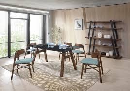 Modern Walnut Dining Chairs Modrest Travis Tobias Modern Walnut Dining Set Modlivingdecor