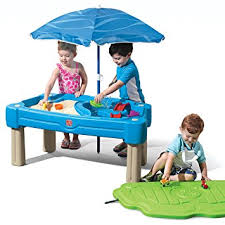 step 2 water table with umbrella step2 cascading cove sand and water table with umbrella kiddie