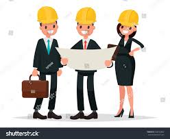 contractor engineer customer contractor discussing project vector stock