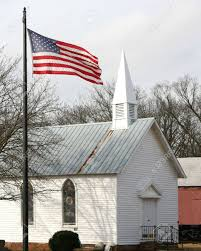 Church Flags American Flag In Front Of An Old Church Stock Photo Picture And