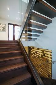 stairs of small contemporary house in swiss style design home
