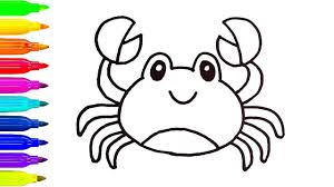 how to draw colorful crab coloring pages animals for kids art