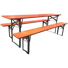 Folding Outdoor Table And Chairs Vintage Folding German Beer Garden Picnic Tables W Benches At 1stdibs