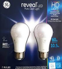 Led Light Bulbs Vs Energy Saving by Ge 10 5 W Reveal Led Hd Light Bulbs 2 Pack 60w Replacement