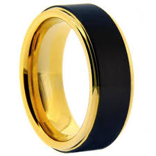 tungsten rings gold images Mens 8mm tungsten carbide ring with black matte finish yellow jpg