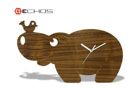 wooden animal wall modern wood animal hippopotamus wall clock www echosusa