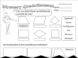 quadrilateral quiz a year 4 2d shapes worksheet