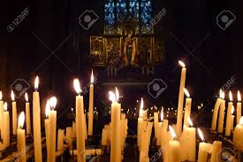 vigil lights catholic church burning candles in catholic church in greece stock photo picture
