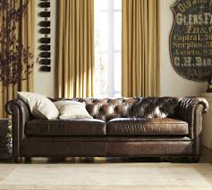 Tufted Brown Leather Sofa Chesterfield Leather Sofa Pottery Barn