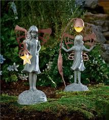 garden statue with solar lantern garden fairies gnomes