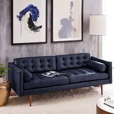 Navy Blue Leather Sectional Sofa Amazing Chic Blue Leather Sectional Sofa Mellunasaw Inside