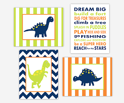 Dinosaur Nursery Decor Baby Boys Canvas Nursery Wall Navy Blue Lime Green Orange
