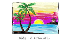 how to draw a cartoon seaside sunset with coconut trees step by