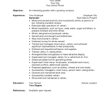 free bartender resume templates great resume sle bartender featuring summary and