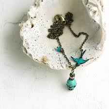 turquoise gem necklace images Bird necklace jpg