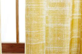 Yellow Window Curtains Mid Century Cotton Canvas Etched Grid Curtains Set Of 2 Slate
