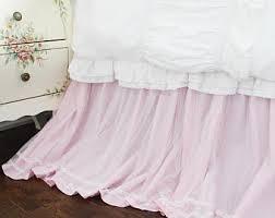 White Ruffle Bed Skirt Lace Dust Ruffle Etsy