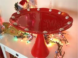 Red Cake Plate Pedestal Diy Christmas Gifts Cake Stand Youtube