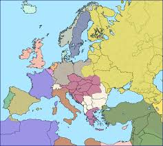 Geographical Map Of Europe by Modern European Borders Superimposed Over Europe In 1914