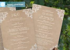 Fan Wedding Program Template Wedding Program Fans Nadine Kraft Paper